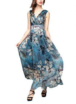 sekitoba-japan.inc Sleeveless Flower Print Summer Beach Dress v Neck for Women (XL, Blue)