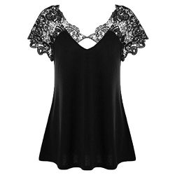 Women Short Sleeve Blouse, Zulmaliu V-Neck Plus Size Lace Sleeve Cutwork T-Shirt Tops (Black, XL)