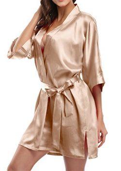 Giova Pure Color Satin Short Silky Bathrobe Sleepwear Nightgown Pajama,Champagne,Medium