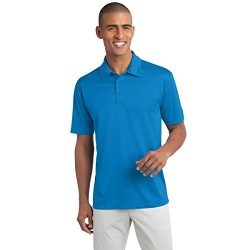 Mens Short Sleeve Moisture Wicking Silk Touch Polo Shirt, M, Brilliant Blue