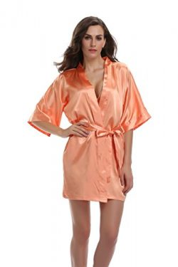 Sunnyhu Women's Pure Color Kimono Robe, Short (XL, Orange)