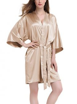 David Archy Women's Stretchy Satin Kimono Robe Bridesmaid Silk Nightwear Short Bathrobe(S, ...
