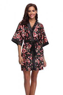 Sunnyhu Women's Floral Satin Kimono Robe(M, Floral-1)