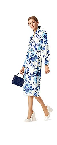 Tory Burch Women's Lili Silk Georgette Midi Jeweled Dress, Rosemont Floral, Size 6