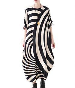 YESNO JCT Women Long Loose Maxi Dress Striped Sheer Dress Bat-Wing Sleeve