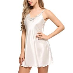 Swyss Sexy Simulation Silk Sleepwear+ G-String,Ladies Sexy Pajamas Lace Sling Dress Charming Und ...