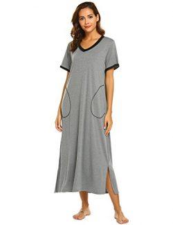 Ekouaer Women's Sleepshirt Short Sleeve Night Dress (Dark Grey, Medium)