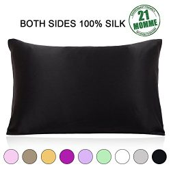 100% Pure Natural Mulberry Silk Pillowcase Queen Size, 21 Momme 600 Thread Count Hypoallergenic  ...