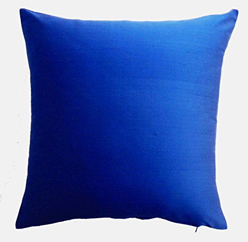Silk Throw Pillow Cover Royal Blue 15×15 inch Pack of 2 100% Pure