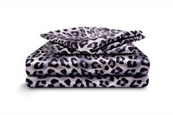 HONEYMOON HOME FASHIONS Cal King Sheet Set Luxury Silkily Like Satin Bed Sheets, Leopard