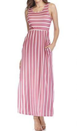 HUUSA Empire Waist Summer Dresses for Women, Striped Casual Sleeveless with Pockets S Pink