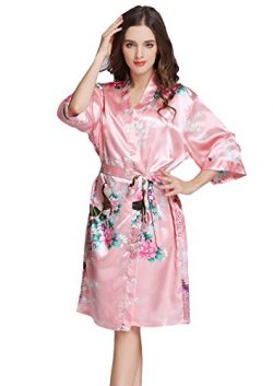 J.ROBE Women's Printing Lotus Kimono Robe Short Sleeve Silk Bridal Robe Magenta L