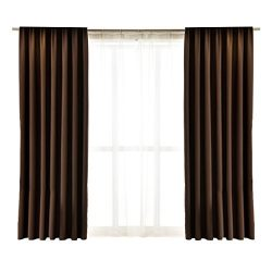 Nibesser 2 Panels Silk Imitation Solid Blackout Curtains Window Treatment Drape Thermal Insulate ...