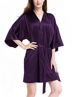David Archy Women's Stretchy Satin Kimono Robe Bridesmaid Silk Nightwear Short Bathrobe(L, ...