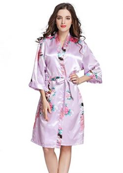 J.ROBE Women's Printing Lotus Kimono Robe Short Sleeve Silk Bridal Robe Soft Purple L
