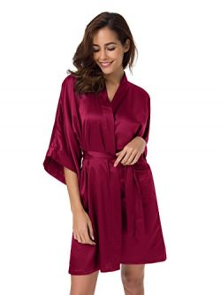 SIORO Kimono Robe Plus Size Bridesmaid Satin Robes Silk Lightweight Bath Robe Nightwear V-Neck S ...