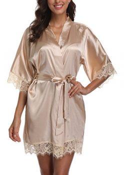 Laurel Snow Short Satin Kimono Robes Women Pure Color Bridemaids Bath Robe with Lace Trim,Khaki S