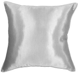 Artiwa 16″x16″ Silk Couch Bed Decorative Throw Accent Pillow Cover : Solid Silver Grey