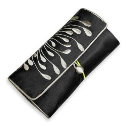 Jewelry Roll Clutch – Embroidered Chrysanthemum (Black)