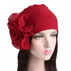 Botrong Women Ladies Retro Big Flowers Hat Turban Brim Hat Cap Pile Cap (Red)