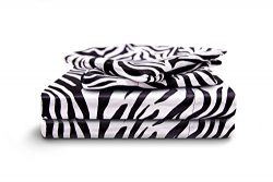 HONEYMOON HOME FASHIONS Cal King Sheet Set Luxury Silkily Like Satin Bed Sheets, Zebra
