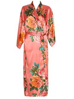 Zarachilable Women 's Long Kimono Robe Floral Bridesmaid Robe,Bridal Robe (One Size, Coral)