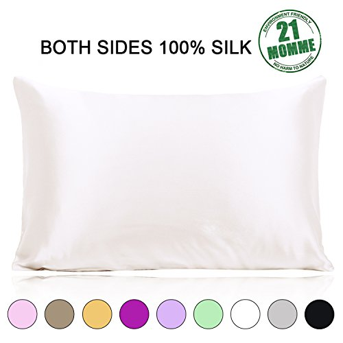 Ravmix Silk Pillowcase for Hair and Skin Both Sides 21 Momme 600 Thread Count Hypoallergenic Mul ...