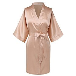 Goodmansam Women's Simplicity Stlye Bridesmaid Wedding Party Kimono Robes, Short,Latte4,Large