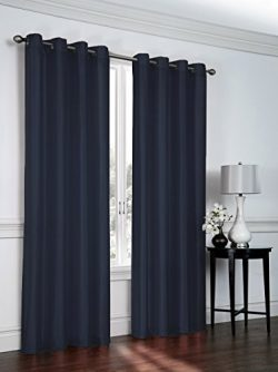Regal Home Collections 2 Pack Semi Sheer Faux Silk Grommet Curtains – Assorted Colors (Navy)