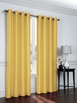Regal Home Collections 2 Pack Semi Sheer Faux Silk Grommet Curtains – Assorted Colors (Yellow)