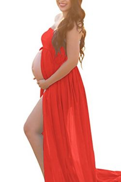 Red Maternity Off Shoulder Tube Chiffon Gown Split Front Strapless Maxi Pregnancy Photography Dr ...