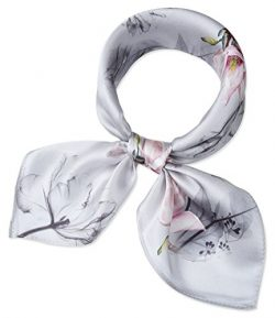 corciova Women 100% Mulberry Silk Neck Scarf Small Square Scarves Neckerchiefs Light Grey Magnol ...