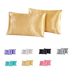 nioBomo 100% Luxury Shiny Silkly Satin Cotton Pillowcase Pillow Covers for Hair and Facial Skin, ...