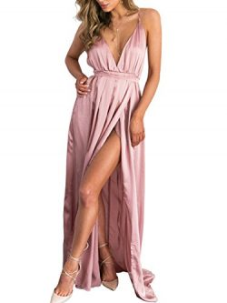 BerryGo Women's Sexy Sleeveless Backless Deep V Neck Split Satin Long Party Dress Gown Pink