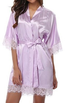 Giova Women's Lace Trim Kimono Robe Nightwear Nightgown Sleepwear Satin Short Robe Lavenda ...