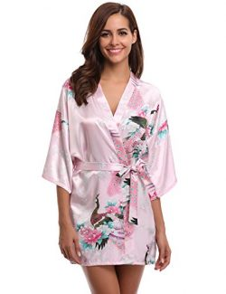Aibrou Women's Kimono Robes Peacock and Blossoms Satin Silk Nightwear Short Style Pink XL