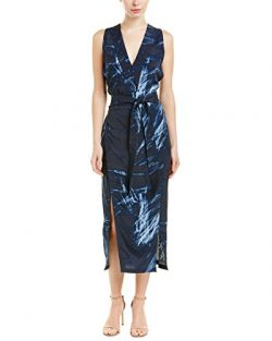 Halston Heritage Womens Silk-Blend Midi Dress, XS, Blue