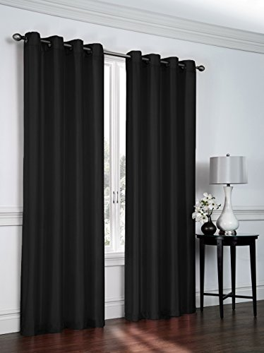 Regal Home Collections 2 Pack Semi Sheer Faux Silk Grommet Curtains – Assorted Colors (Black)