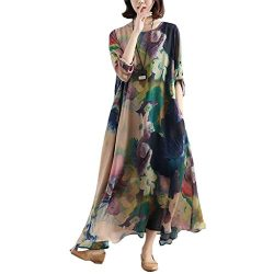 BUYKUD Charming Women Casual Loose Retro Floral Silk Long Sleeves Blue Dress (Free Size, Blue Fl ...