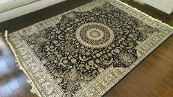 Silk Black Ivory Grey Brown New Traditional Isphan Area Rugs Ultra Low Pile 5'2×7&#82 ...