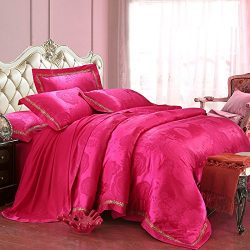 Svetanya Rose Pink Duvet Cover Set Flat Sheet Pillow Cases 800TC 100% Soft Silk Cotton Fabric Ja ...