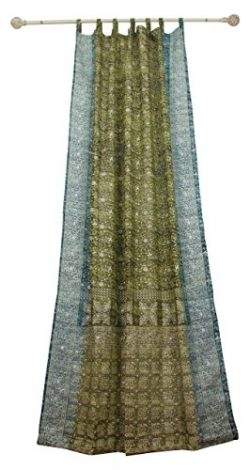 SAGE GREEN Curtain Teal Border, SARI Curtain, 96″Long panel, FREE GIFT Silk Tote Bag, Bohe ...