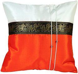 Artiwa SALE 70% OFF Orange Throw Decorative Silk Pillow Cover Thai Elephants 16″x16″ ...
