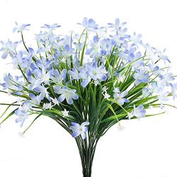 HUAESIN Daisy Silk Flowers 4pcs Blue Artificial Flowers Arrangements Long Stem Plastic Fake Flow ...
