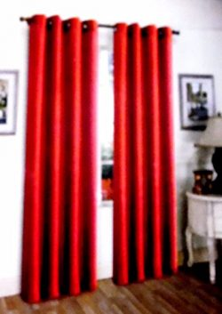 Red 2 Pcs Solid Grommet Faux Silk Window Curtain Drapes Panel Treatment 63″