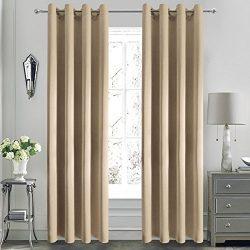 DWCN Moderate Blackout Curtains Room DarkeningFaux Silk Beige Grommets Window Curtain with Velc ...