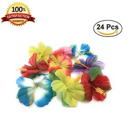 Simulated colorful silk flowers Hibiscus Flowers for Tabletop Decoration ,Set of 24