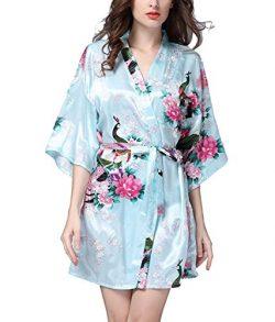 Admireme Women's Bridesmaid Robes Short Peacock Blossoms Kimono Robe Dressing Gown Floral  ...