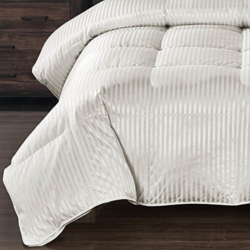 True Luxury Striped Goose Down King/Calking sized comforter; Heavy Silk and Cotton blend fabric  ...