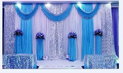 LB Wedding Stage Decorations Backdrop Party Drapes with Swag Silk Fabric Curtain (Blue) SM001-2